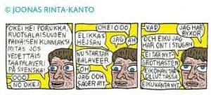 Serietecknaren Joonas Rinta-Kanto med ett mycket passande verk (fok it)